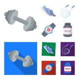 Dumbbell, rope and other equipment for training.Gym and workout set collection icons in cartoon,flat style vector symbol. Stock illustration Stock Image