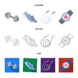 Dumbbell, rope and other equipment for training.Gym and workout set collection icons in cartoon,outline,flat style. Vector symbol stock illustration Royalty Free Stock Photography