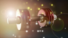 Dumbbell rotate with flashlight. 3D rendered stock video footage