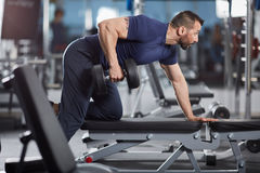 Dumbbell row in the gym Stock Photos