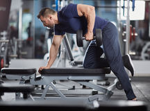 Dumbbell row in the gym Stock Photography