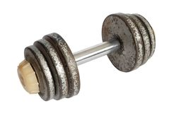 Dumbbell with rusty disks isolated. On white Royalty Free Stock Photo