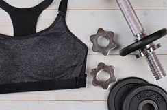 Dumbbell set,  Woman Sport clothes. Workout, Gym, Fitness, Sport  background. Stock Image