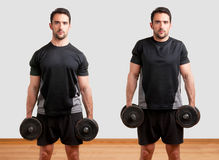 Dumbbell Shrugs Royalty Free Stock Image