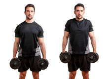 Dumbbell Shrugs Royalty Free Stock Photos