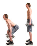 Dumbbell Squat Exercise. Studio shot over white royalty free stock image