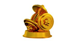 Dumbbell trophy in Gold Turning with white background stock video