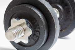 Dumbbell with two weights isolated as Cut Stock Photo