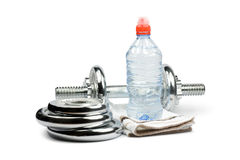 Dumbbell and water Royalty Free Stock Photo