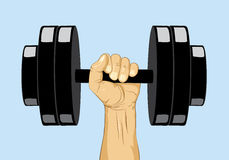 Hand with dumbbell weight. Hands lifted dumbell weight - winer and strength concept Stock Photo