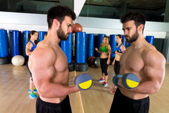 Dumbbell weightlifting man women group at mirror Stock Images