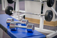 Dumbbell weights. As found in a typical gym Stock Photo