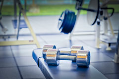 Dumbbell weights. As found in a typical gym Royalty Free Stock Images