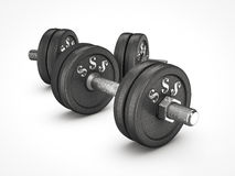 Dumbbell weights with money sign. On white background Royalty Free Stock Images