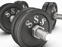 Dumbbell weights with money sign. On white background Royalty Free Stock Photo