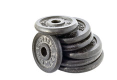 Dumbbell weights stacked Royalty Free Stock Images