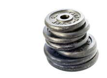 Dumbbell weights stacked Stock Image