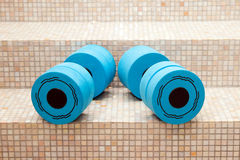 Dumbbell weights for water aerobics Stock Photo