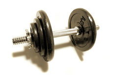Dumbbell weights on white Royalty Free Stock Images
