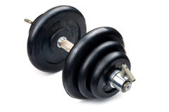 Dumbbell on white Stock Image