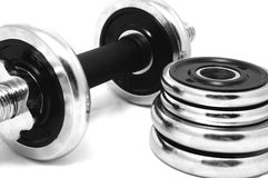Dumbbell on white Stock Photos