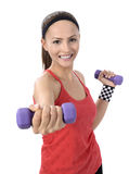 Dumbbell woman weight workout in gym Stock Image