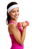 Dumbbell woman Royalty Free Stock Images