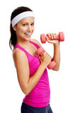 Dumbbell woman Royalty Free Stock Image