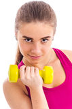 Dumbbell workout for girls Stock Photo