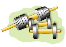 Dumbbells. Drawing of dumbbells, for occupations by physical exercises Royalty Free Illustration