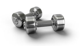 Dumbbells. Metal dumbbells on a white background Royalty Free Stock Photography