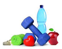 Dumbbells and accessories for fitness Royalty Free Stock Image