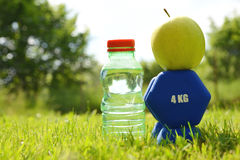 Dumbbells with apple and bottle with water in grass. Royalty Free Stock Photos