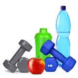 Dumbbells with apple and protein shaker Stock Photography