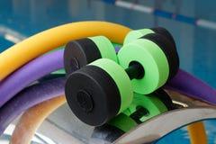 Dumbbells for Aqua Aerobics. Aqua Aerobics equipment, Dumbbells noodles. Water Aerobics Royalty Free Stock Image