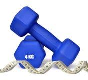 Dumbbells azuis da aptidão Fotografia de Stock