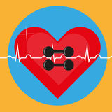 Dumbbells on the background of the heart and ECG as a symbol of health. Yellow background Stock Image