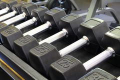 Dumbbells. Barbells in new modern gym, work out equipment Stock Photos