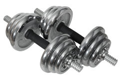 Dumbbells (barbells) no fundo isolado. Foto de Stock Royalty Free