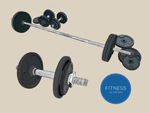 Dumbbells barbells and weight fitness , sketch vector. Stock Photos