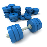 Dumbbells blu e mucchio dei pesi Immagine Stock