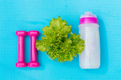 Dumbbells, bottle of water and salad leaves on yoga mat Stock Photography