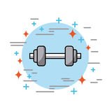 Dumbbells in circle health. Vector icon illustration design graphic Stock Images