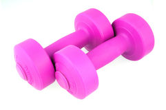 Dumbbells das senhoras cor-de-rosa Fotos de Stock Royalty Free