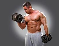 Dumbbells di sollevamento del Bodybuilder, primo piano 2 Fotografia Stock Libera da Diritti