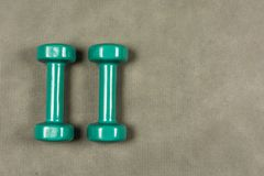 Dumbbells dla sprawności fizycznej lub rehabilitaci waży dwa kilo Zdjęcia Stock