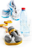 Dumbbells and exercise. And water stock photo