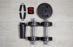 Dumbbells with expander and shaker stock photo