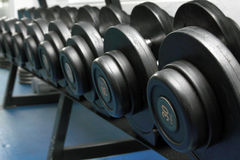 Dumbbells in fitness center. Closeup indoor shot Royalty Free Stock Photo