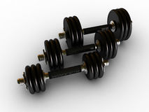 Dumbbells in fitness center stock photography